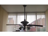 Fantasia Combi Ceiling Light for Conservatory, White, Five Fan Blades, Three lights