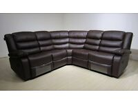 Roma Corner Brown Recliner Cupholder Sofa Free Mainland UK Delivery & Free Home Assembly