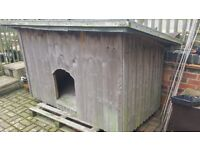 Insulated, large wooden dog kennel with removable sloping mineral felt roof