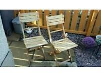 Four next garden folding seats chairs wooden need paint