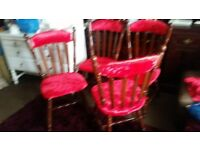 RED VELUR. 4 CHAIRS. .VERY CLEAN.