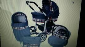 Baby Pram Stroller Buggy 3in1 Kunert