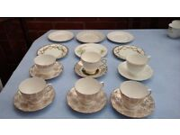 VINTAGE CUPS AND SAUCERS WITH TEA PLATES x 18 PIECES