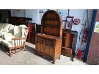Vintage Oak French Dresser with Rounded Topper
