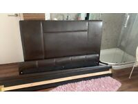Double brown leather bed frame