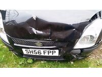 2006 Suzuki Swift Black 1.5 Petrol 5DR - damage to the front Category C - Only 76K miles