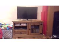 TV unit, Corona Mexican pine with glass front cupboard