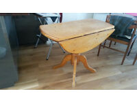 Dinner table - folding, round, wooden, vintage