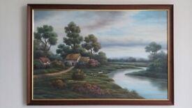 *** Lovely large framed country side landscape oil painting ***