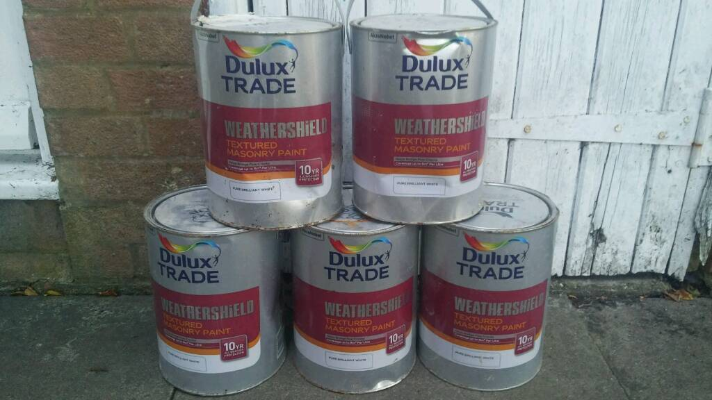 5 x 5 LITRE TINS OF DULUX TRADE WEATHERSHIELD TEXTURED MASONRY PAINT