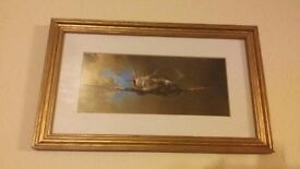 Framed Lithographic print of Spitfire by Barry Clark.