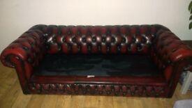 Oxblood Chesterfield sofa and Club Armchair