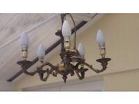 Five light brass chandelier style ceiling lights