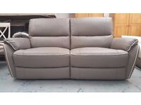 ScS Neo Grey Leather 3 Seater Manual Recliner Sofa **CAN DELIVER**