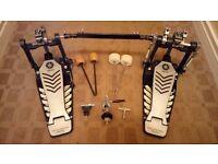 Yamaha twin chain double bass drum pedal, drop clutch & bag