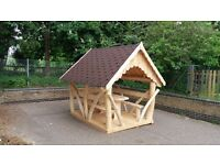 Bespoke tree trunk gazebo summer house shed