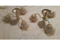 2 x Ceiling Light Fittings: Gold Metal Glass Shades Vintage Retro Micromark MM7350 Antique Art Deco