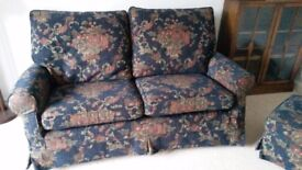 Pair of Two-seater Sofas with Matching Footstool