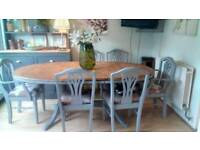 Large Extending French Style Farmhouse Dining Table and 6 Chairs