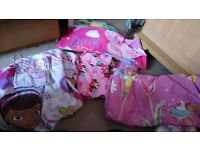 Cot bed bedding, Minnie mouse. Peppa pig. Fairy and doc MC stuffin