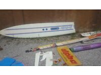 Alpha 230a + HiFly444 windsurfers, retro 1980`s boards,booms masts keels sails,
