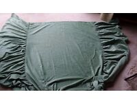 BED COVER AND MATCHING VELOUR-TYPE CURTAINS