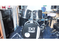 Five piece drum kit plus cymbals and stands