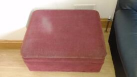 Red Fabric covered footstool