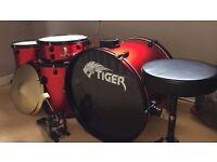5 piece Red Metallic Tiger drums
