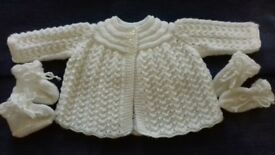 brand new hand knitted matinee set