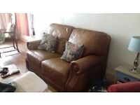 Sofa Brown Leather good condition very comfortable call 07899860929 £65