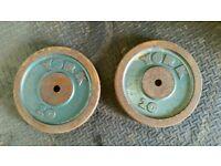 2 x 20kg York caste iron weight plates