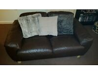 2x two seater brown leather sofa/settee