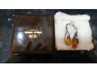 vintage solid silver Amber earings and matching necklace never worn £50 for both cosham