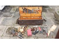 Vintage woodwork tool chest & tools