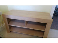 Multi-compartment oak wood TV stand/unit with cable management - excellent condition
