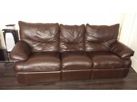 Brown leather recliners. .a 3 seater a 2 seater and a1 seater