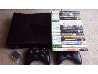 Xbox 360 HD Slim, Black Case, 250GB HD, 15 Games, 2 Controllers