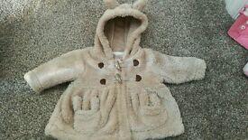 Cute beige baby girls bunny coat Next 0-3 months