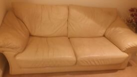 3 seater and 2 seater cream leather couches