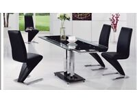 Mani black glass extending table/4 chairs