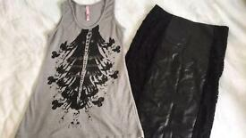 Faux leather & lace skirt & grey embellished vest top size 10