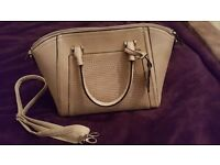 New Look medium size beige studded clutch bag with strap.