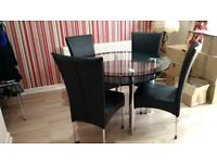 Black glass dining table 4 chairs
