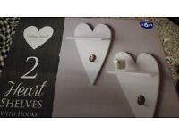 2 Heart Shelves With Hooks