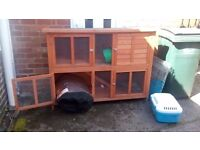 Immaculate Large 2 tier rabbit hutch with all accessories