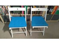 IKEA Pair of TERJE White Folding Chairs with Seat Pads