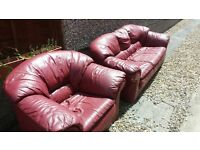 Leather Sofa and Armchair £10
