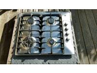 Hoover 60 cm stainless steel gas hob with cast iron stands and wok burner / stand