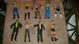 Job lot of wrestlers and wrestling ring